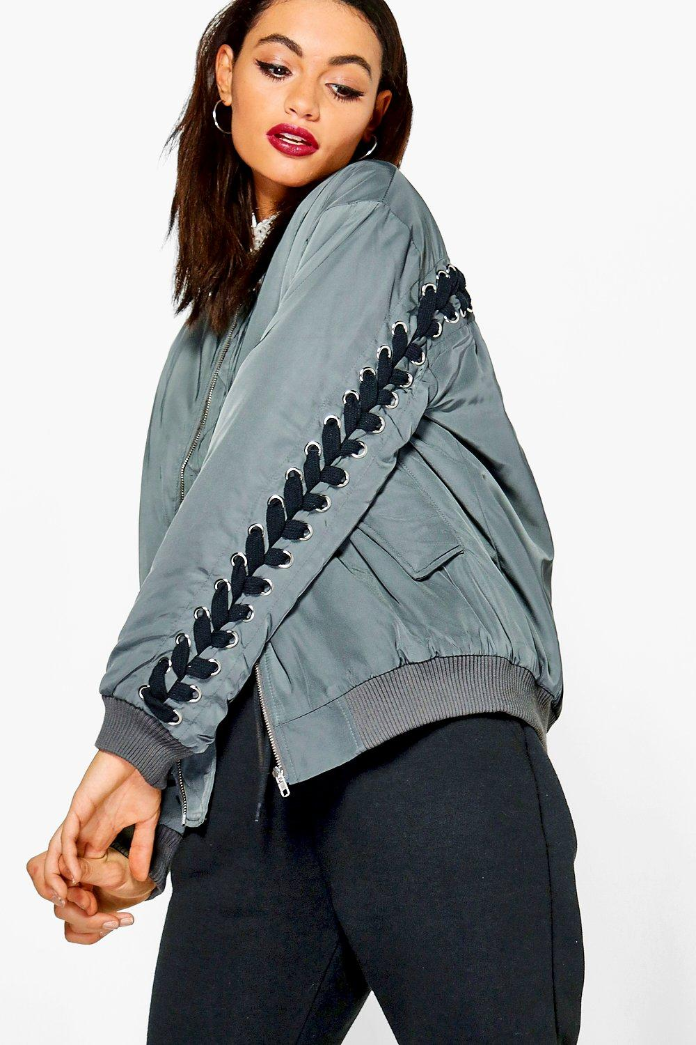 Lois Eyelet Lace Up Back Bomber Jacket