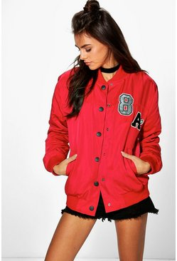 Evie Padded Varsity Badged Bomber Jacket