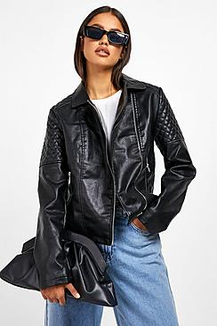 Torah Faux Leather Biker Jacket