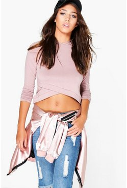 Holly Premium Fabric Wrap Crop Hoody
