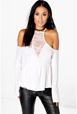 Molly Lace Cold Shoulder Flare Sleeve Crop