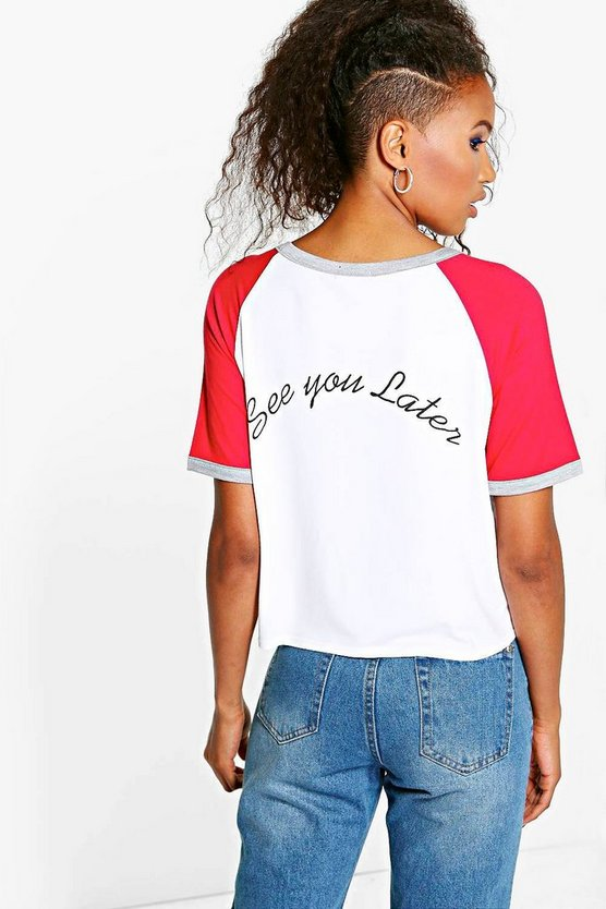 Grace Contrast Raglan Slogan Back T-Shirt