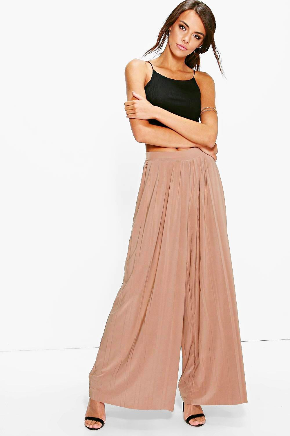 Yasmine Pleated Wide Leg Palazzo Trousers