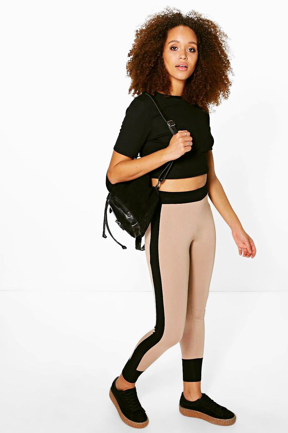 Sarai Contrast Panel And Cuff Viscose Leggings