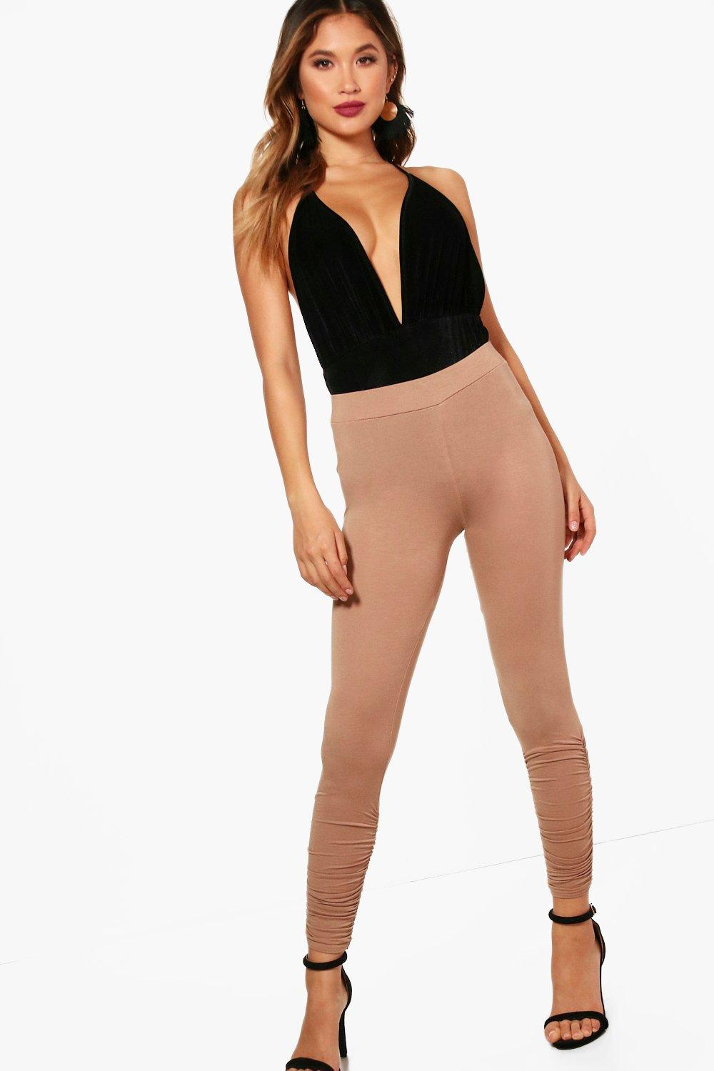 Rouched Ankle Viscose Leggings sand