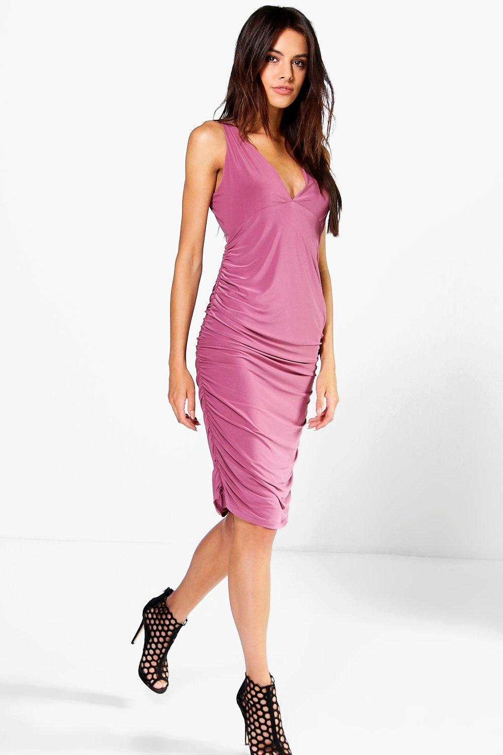 Sally Slinky Plunge Neck Midi Bodycon Dress
