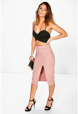 Arayah Scuba Thigh Split Midi Skirt