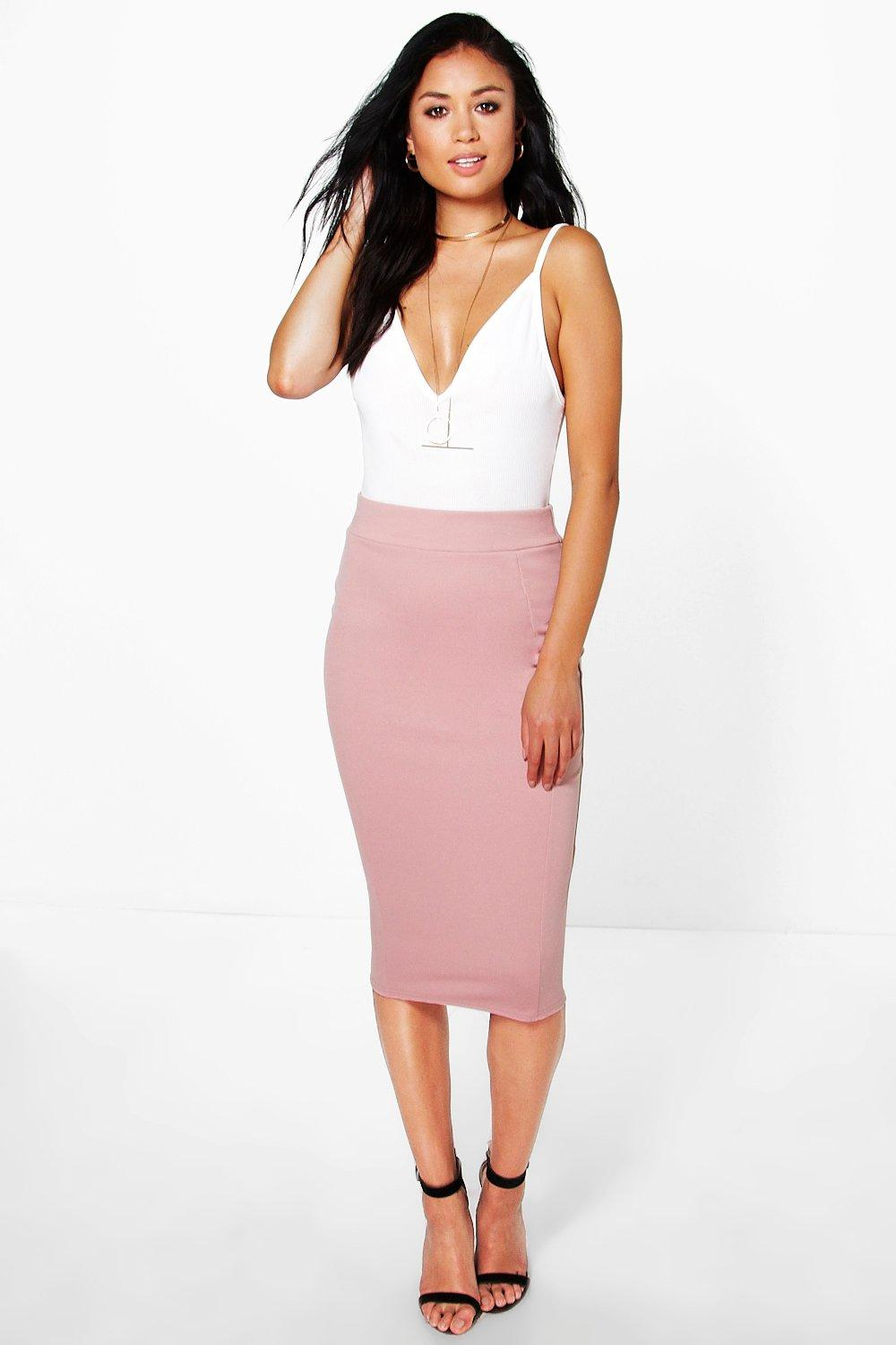 Scuba Panelled Midi Skirt rose
