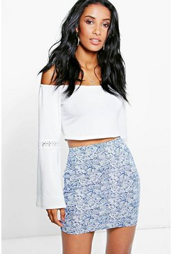 Suri Tonal Blue Mini Skirt