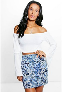 Jayah Tonal Paisley Mini Skirt