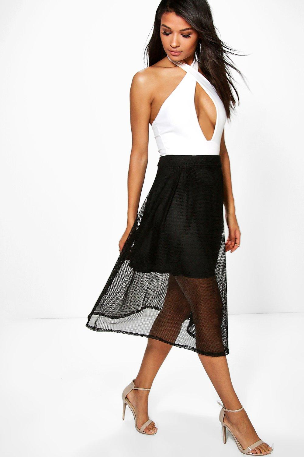 Mesh Full Skater Skirt black