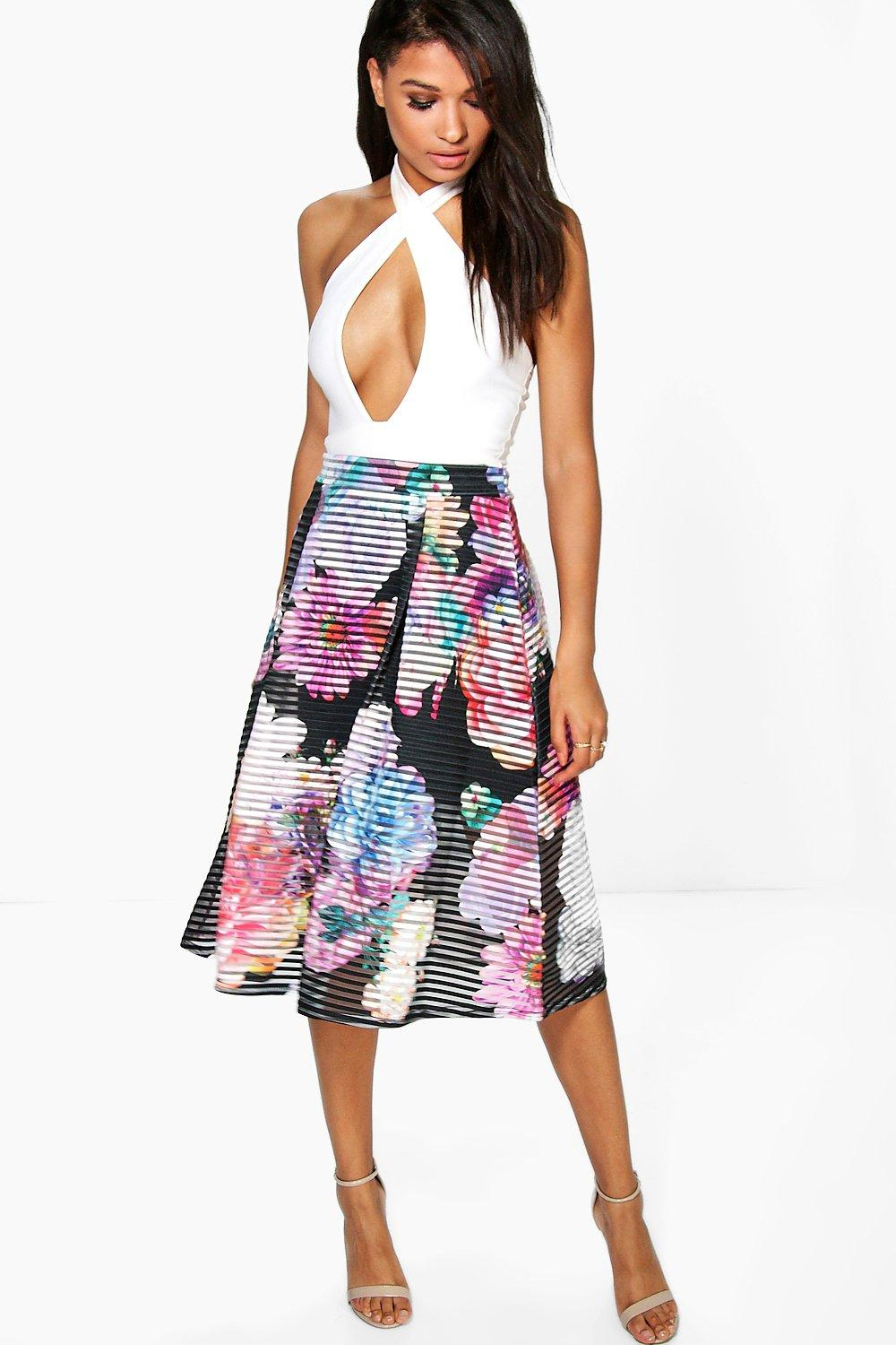Amera Printed Full Mesh Midi Skirt black