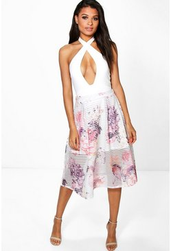 Boutique Amera Printed Full Mesh Midi Skirt