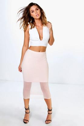 Amaya Mesh Overlay Longer Line Midi Skirt