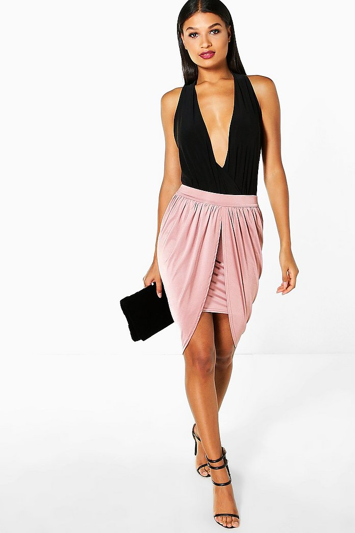 Anya Drape Side Slinky Midi Skirt
