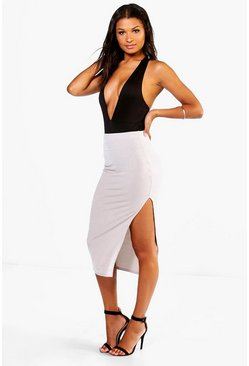 Aurora Ribbed Side Split Midi Skirt
