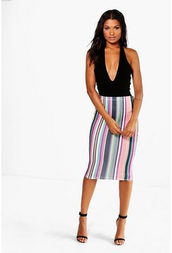Alerra Striped Skinny Crepe Midi Skirt