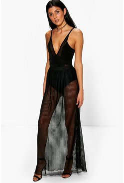 Evia Pleated Mesh Overlay Maxi Skirt