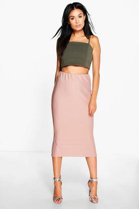Reina Chunky Rib Longer Line Split Back Midi Skirt