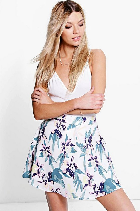 Amaya Tropical Floral Woven Skater Skirt