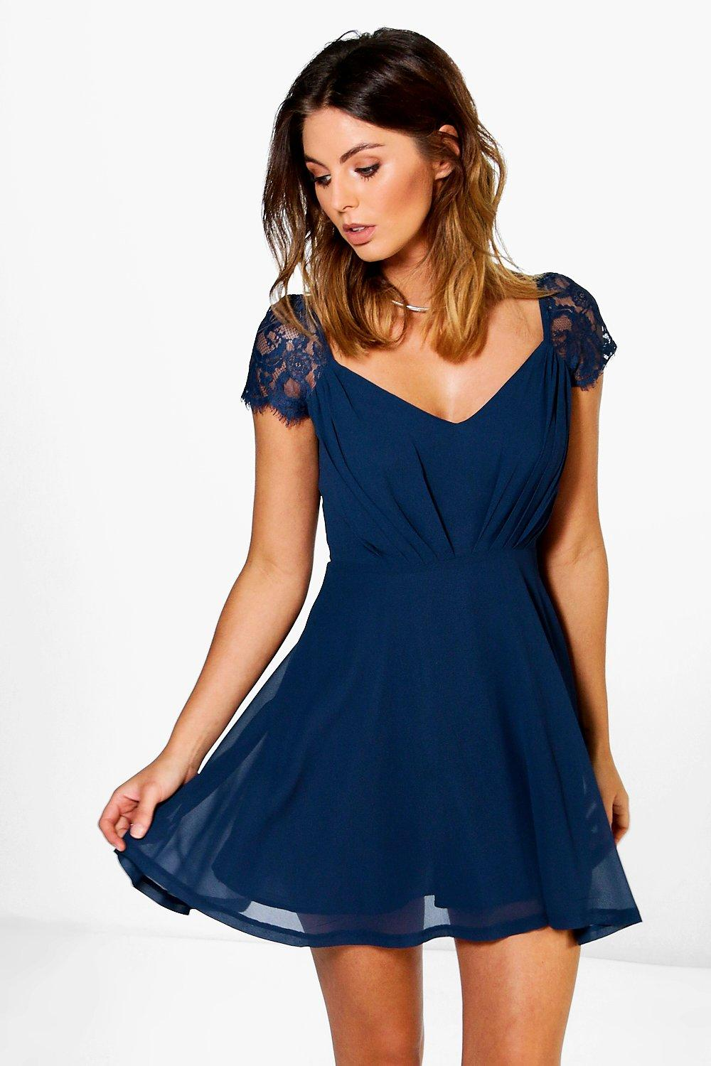 Lucy Lace Detail Chiffon Skater Dress