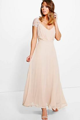 Bethany Lace Detail Chiffon Maxi Dress