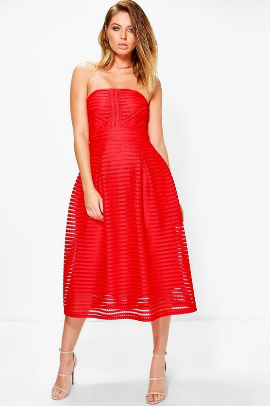 Eilish Panelled Midi Full Skirt Skater Dress