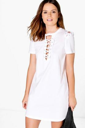 Sally Lace Up Front T-Shirt Dress