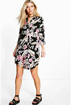 Amy Tropical Print Shirt Dress