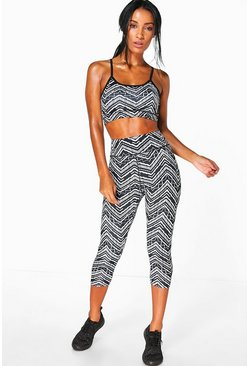 Lucy Mono Zig Zag Performance Running Legging