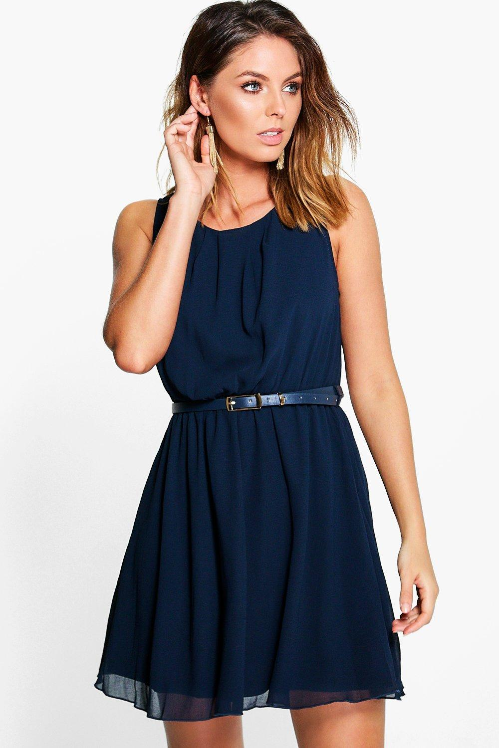 Frankie Sleeveless Chiffon Gold Belted Skater Dress