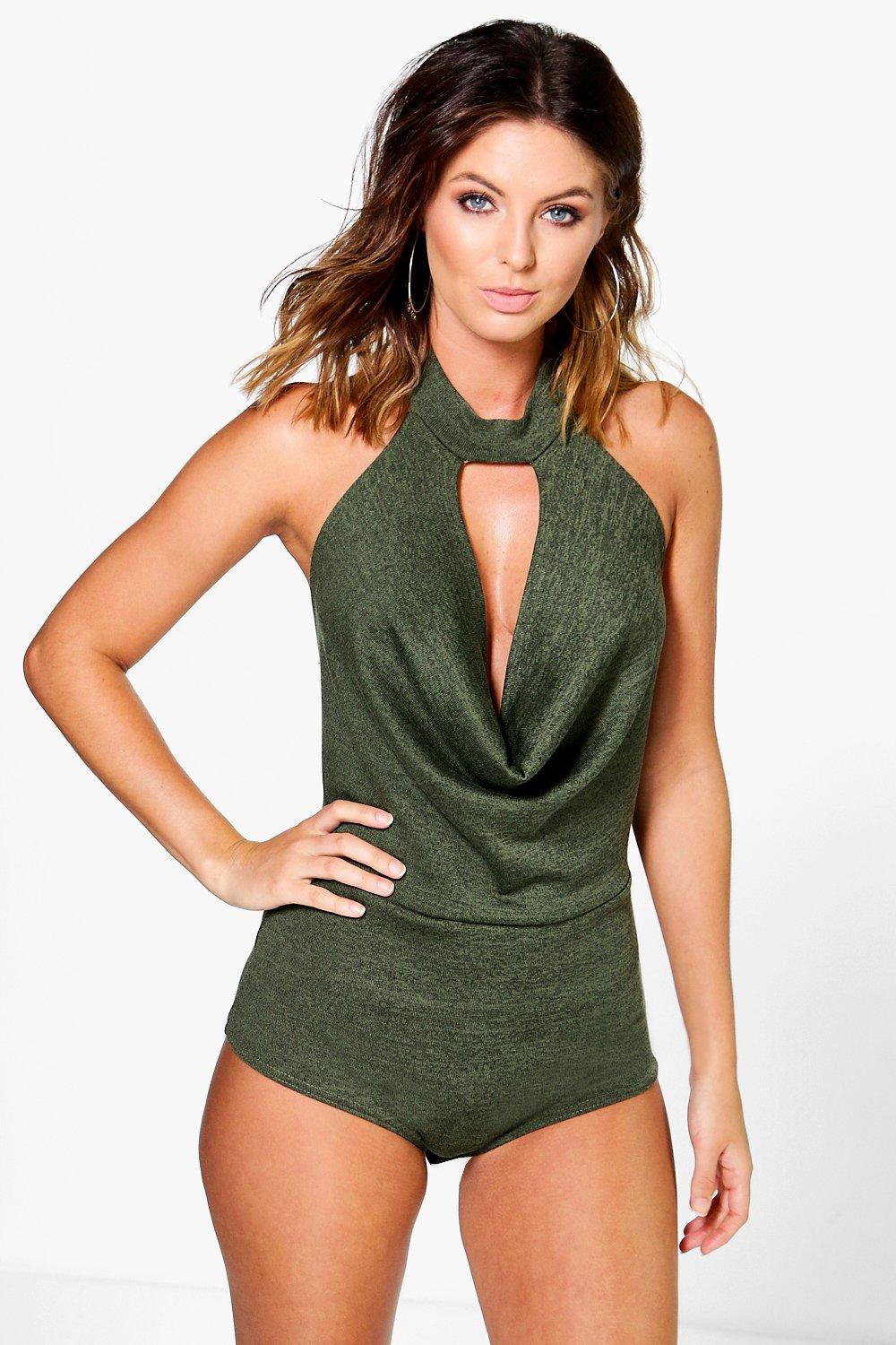 Alice Choker Knitted Bodysuit With Drape Front