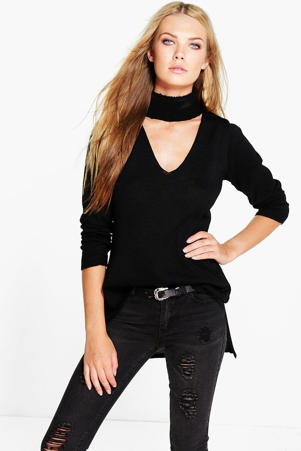 Details about boohoo womens lillie choker strap v neck jumper