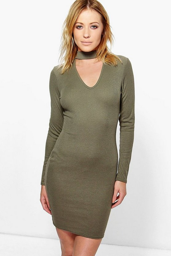 Holly Soft Rib Choker Neck Dress