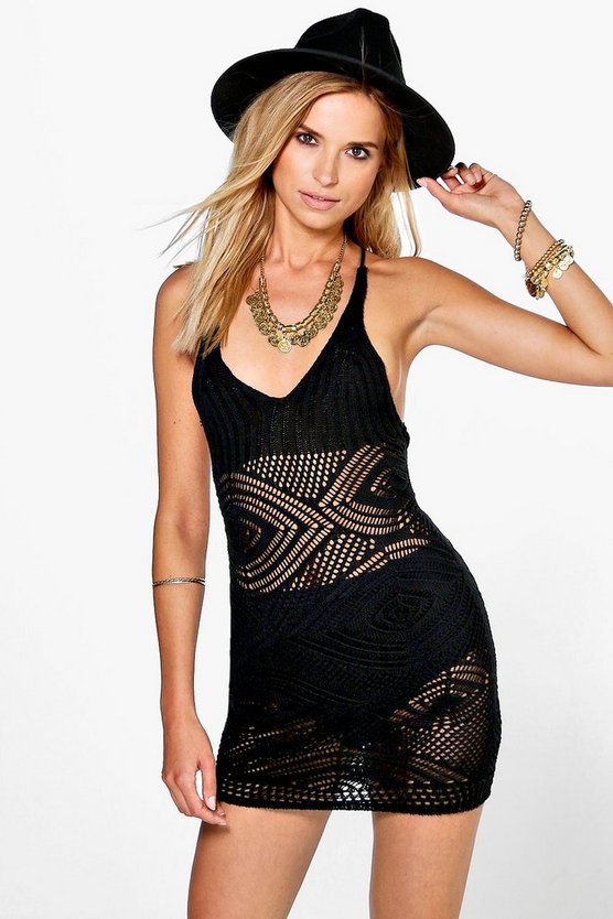 Sophie Strappy Back Detail Halterneck Crochet Dress