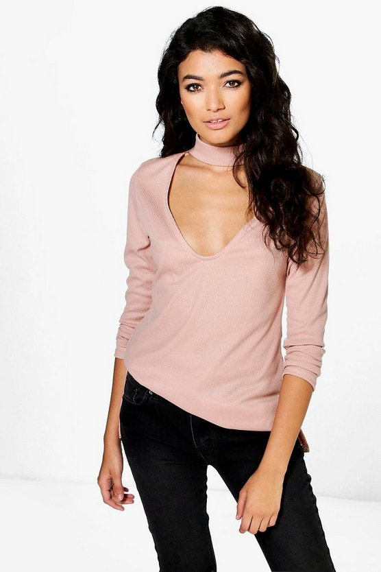 Ella Choker Detail Rib Knit Side Split Jumper