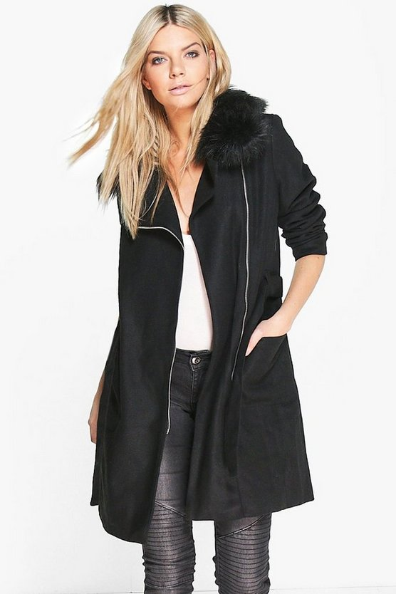 Molly Faux Fur Collar Belted Coat