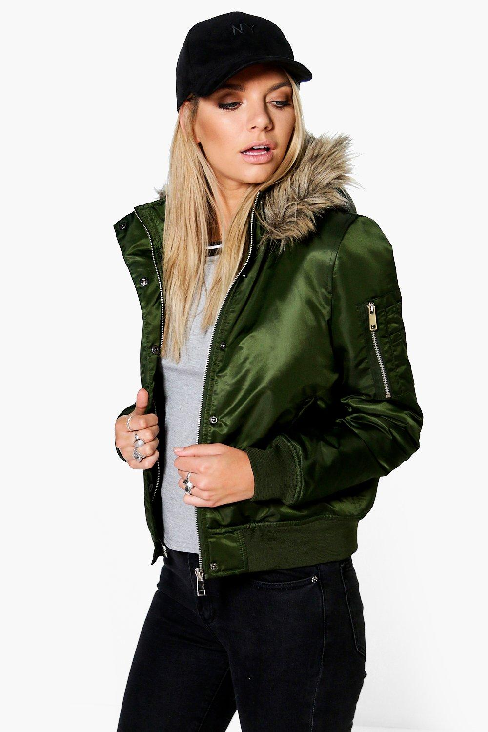 Leah Faux Fur Hood Crop Bomber Jacket