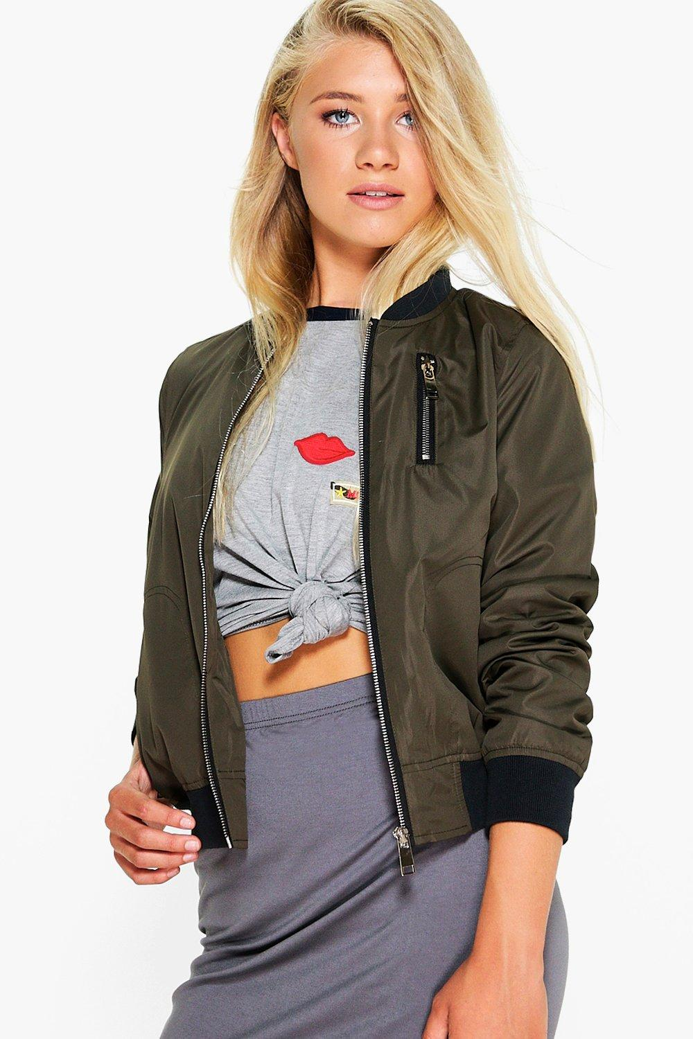 Amber Zip Detail Bomber Jacket