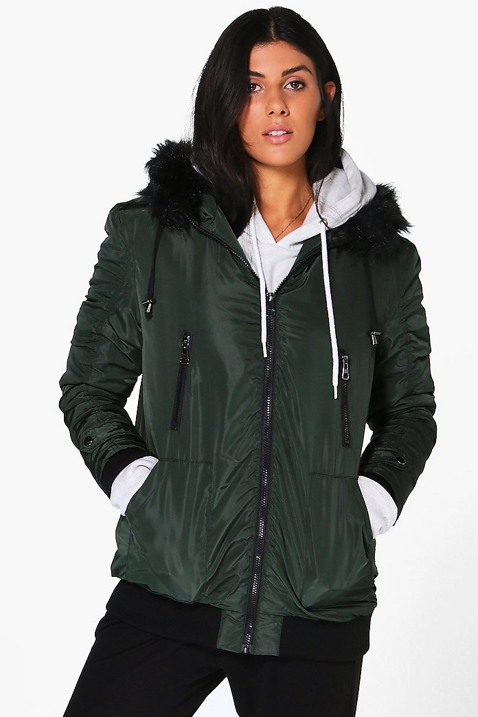 Faith Faux Fur Hood Bomber Coat