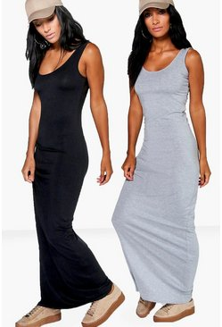 2 Pack Scoop Neck Maxi Dress