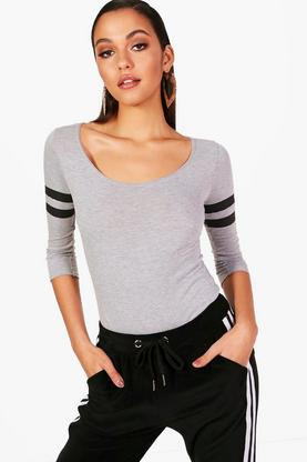 Amy Baseball Stripe Scoop Neck Body