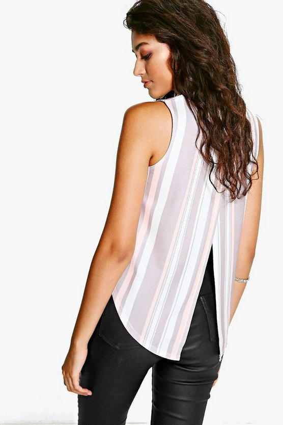 Lexi Pastel Striped Split Back Crepe Top