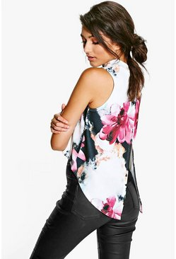 Sasha Floral Print Split Back Crepe Top