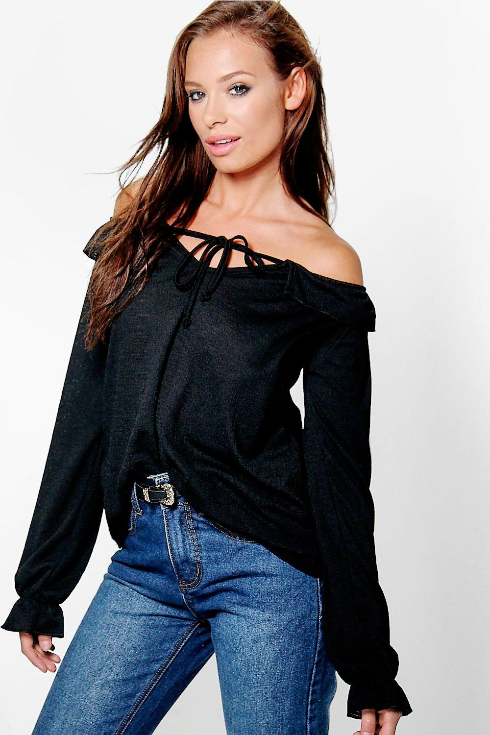 Hannah Ruffle Off the Shoulder L/S Top