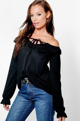 Hannah Ruffle Off the Shoulder Long Sleeve Top