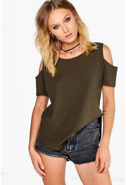 Carina Open Shoulder Curved Hem Crepe T-Shirt