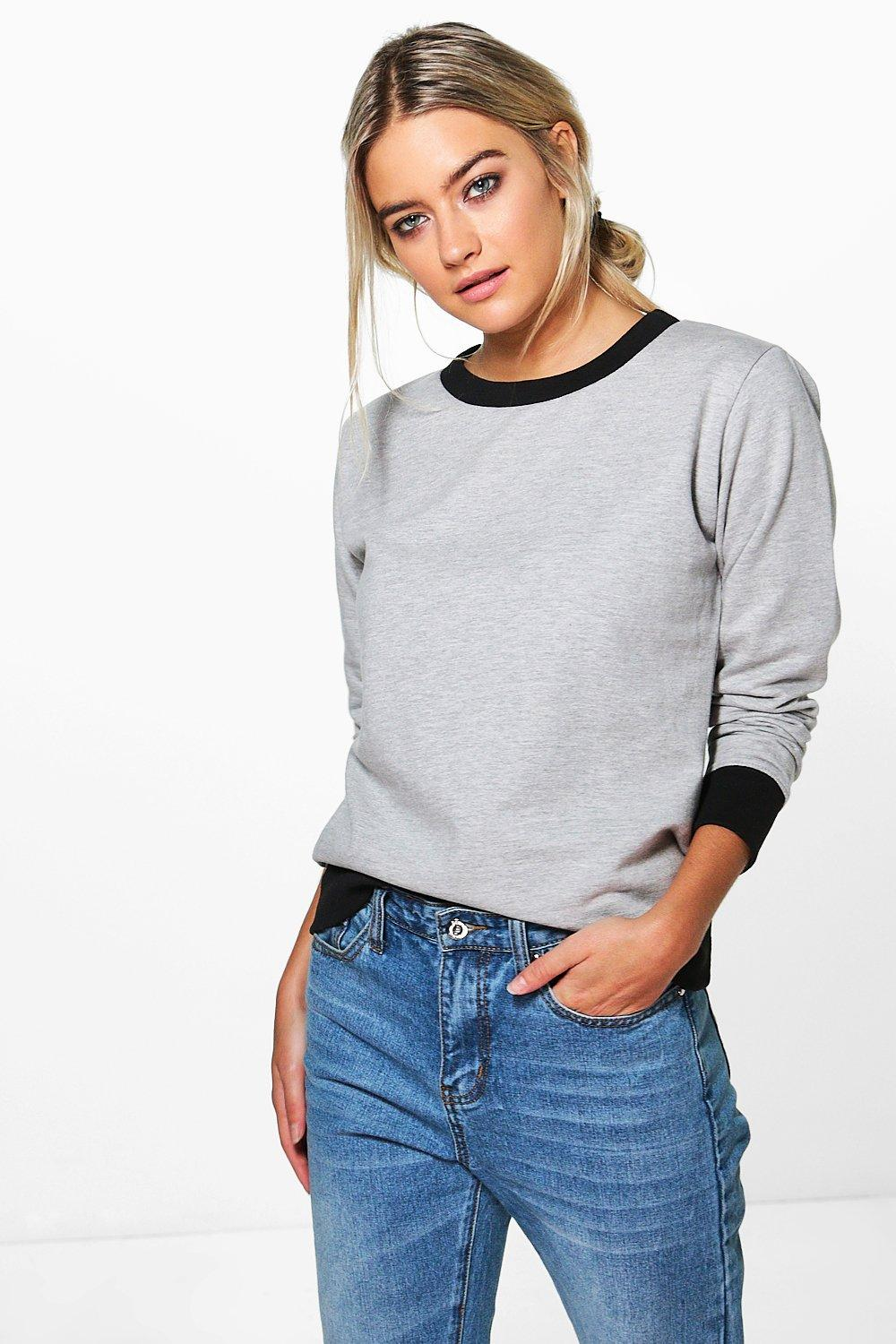 Contrast Cuff And Hem Sweat Shirt  grey marl