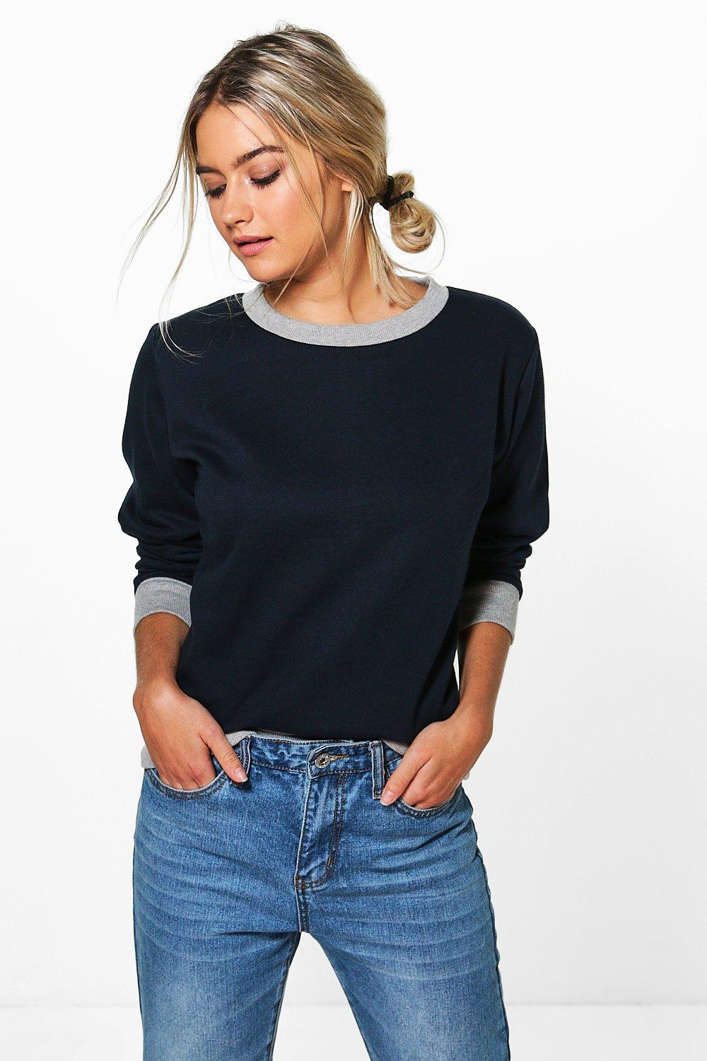 Contrast Cuff And Hem Sweat Shirt  navy