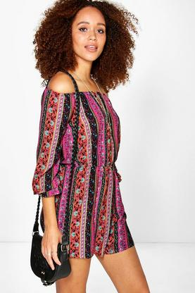 Olivia Off The Shoulder Paisley Playsuit